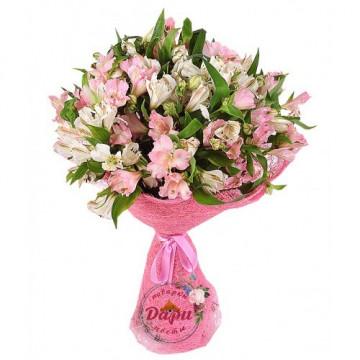 """Букет """"Морозное утро"""" из белой и розовой альстромерии (Арт.Б124) (Б124) фото 1"""