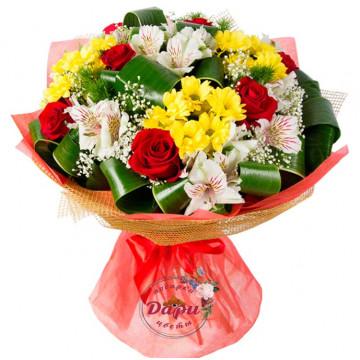 """Букет """"Жемчужина красоты"""" с хризантемой, розой и альстромерией (Арт.Б007) (Б007) фото 1"""